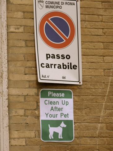 Rome Dog laws Poop Shit Sign Animal lovers Italy scoop