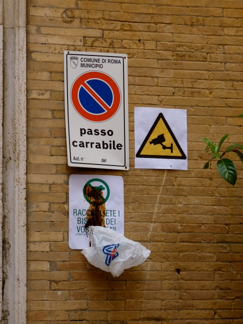Rome dog poo sign italy cctv sign security